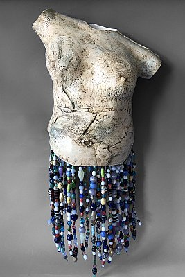 "Wall Torso With Beads 22""x12""x6"""
